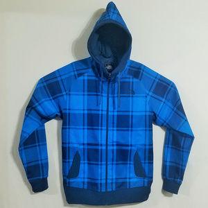 North Face Blue Flannel Mens Medium Zip Up Jacket